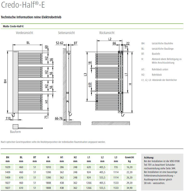 Technische Daten Kermi Credo-Half-Elektro Design-Badheizkörper