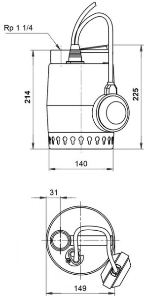 GRUNDFOS Kellerentw.-Pumpe KP250-A1 m. vert. Schwimmer, 230V, # 012H1600