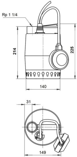 GRUNDFOS Kellerentw.-Pumpe KP150-A1 mit Schwimmer, 230V, # 011H1600