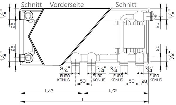 Anschlussmaße Henrad Everest Plan 8 Heizkörper