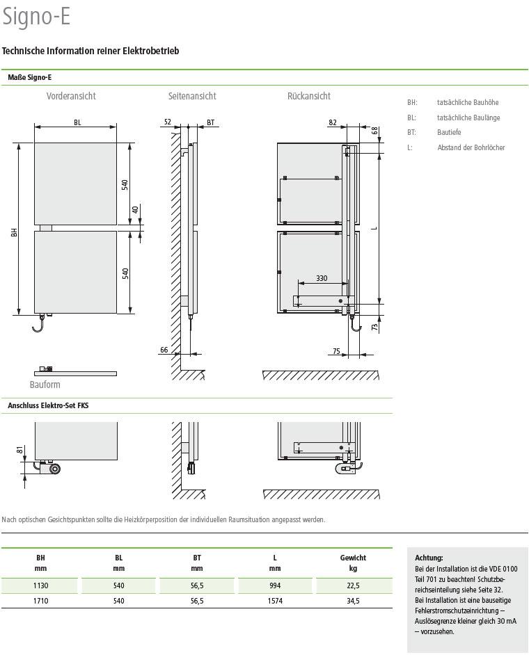 Technische Daten Kermi Signo-Elektro Design-Badheizkörper