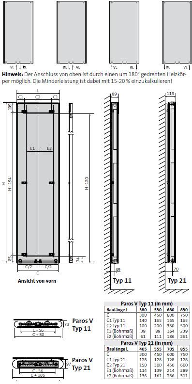 Purmo Dekorativheizkorper Paros Vertikal Ventil Typ 21 Zweilagig