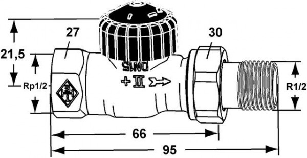 HEIMEIER Thermostat-Ventilunterteil Standard, Durchgang, DN 15, vernickelt