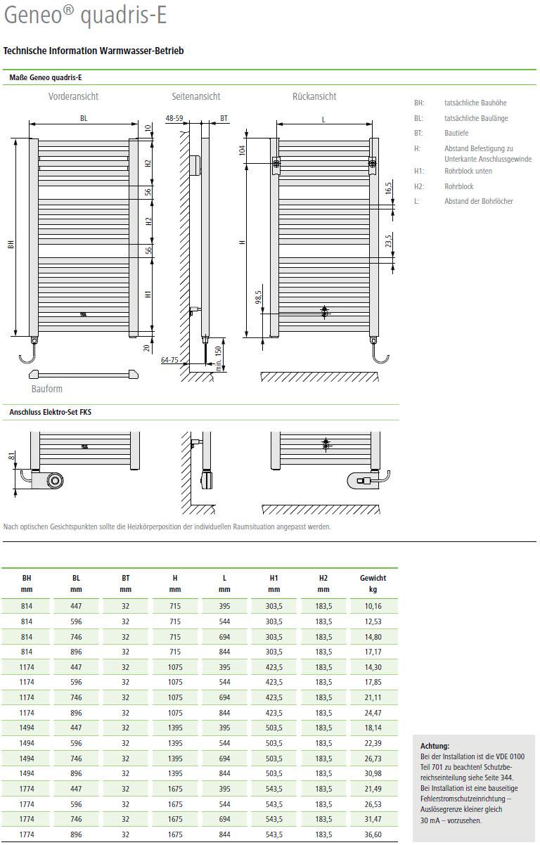 Technische Daten Kermi Geneo quadris-Elektro Design-Badheizkörper