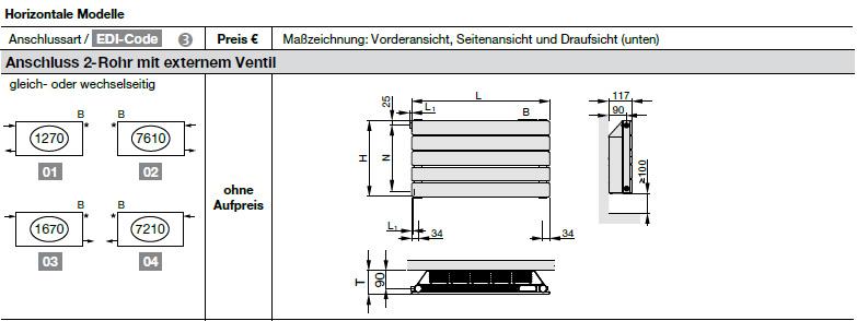 Anschluss Zehnder Nova Neo, Niedertemperatur-Heizkörper, horizontal