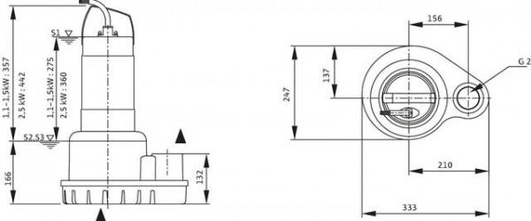 Wilo Schmutzwasser-Tauchmotorpumpe Padus UNI M05/T25-540