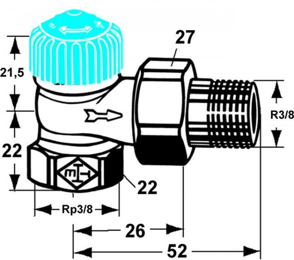 HEIMEIER Thermostat-Ventilunterteil mit geringem Widerstand, Eckform, DN 10