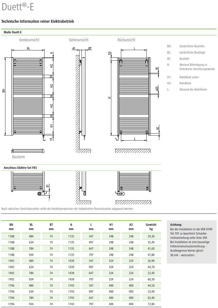 Technische Informationen Kermi Duett-Elektro Design-Badheizkörper