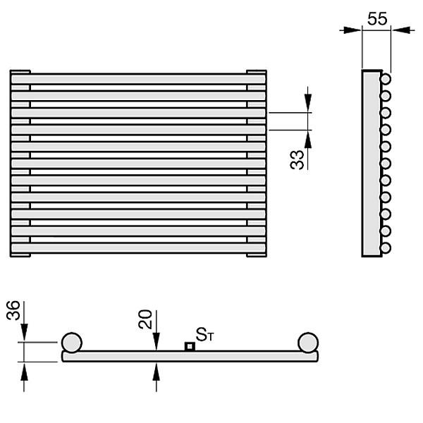 Zehnder Kleo, Elementheizkörper, horizontal, 1-reihig