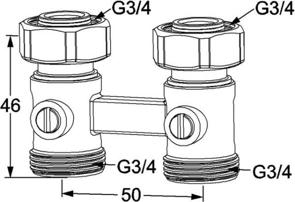HEIMEIER Verschraubung Vekotrim 2-Rohr Durchgangsform, für VHK mit G 3/4 AG