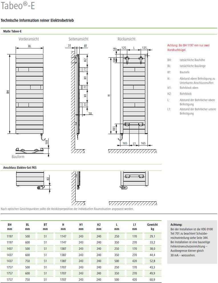 Technische Daten Kermi Tabeo-Elektro Design-Badheizkörper