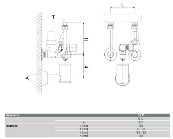 "AHT Sicherheitsgruppe KV 40 DN15 m. Druckmin. (1/2"") 6 bar verchr. (A20)"
