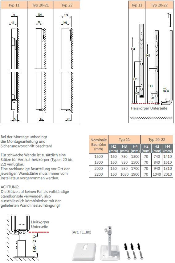 Henrad Alto Plan Vertikalheizkörper Anschlussmaße Wandmontage