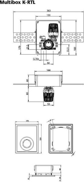 HEIMEIER UP-Kasten Multibox K-RTL mit Thermostat-ventil und RTL, weiß RAL 9016