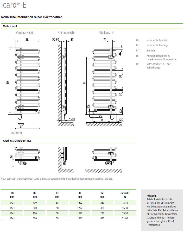 Technische Daten Kermi Icaro-Elektro Design-Badheizkörper