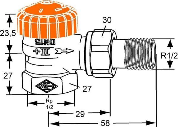 HEIMEIER Thermostat-Ventilunterteil ECLIPSE Eckform, DN 15