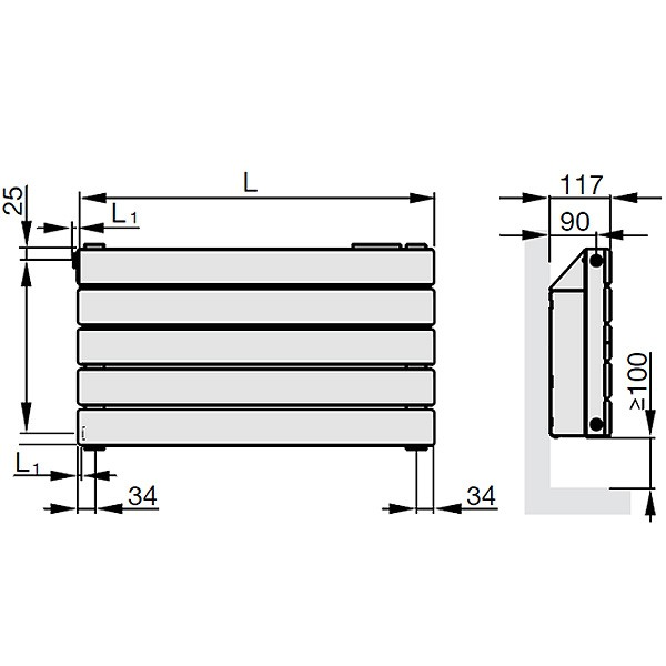 Zehnder Nova Neo, Niedertemperatur-Heizkörper, horizontal