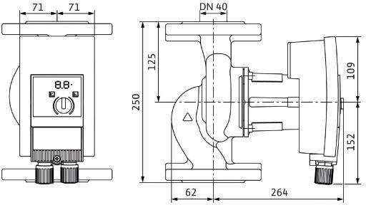 WILO Nassläufer-Hocheffizienzpumpe Yonos MAXO-Z plus 40/0,5-12 PN6/10,450W