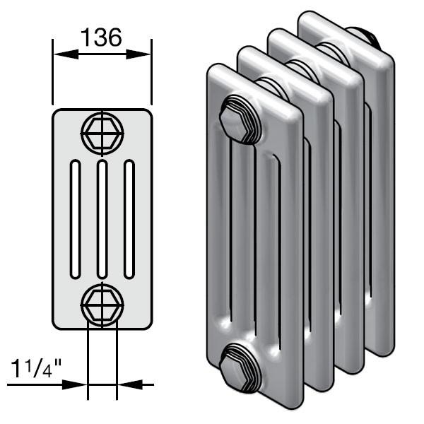 Zehnder Charleston Completto Röhren-Heizkörper mit integriertem Ventil, 4 Säulen