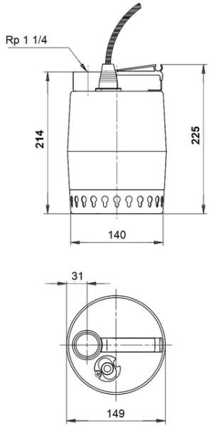 GRUNDFOS Kellerentwässerungspumpe KP250-M1 10 m Kabel, 230V, GRUNDFOS # 012H1300
