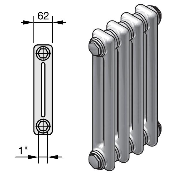 Zehnder Charleston Completto Röhren-Heizkörper mit integriertem Ventil, 2 Säulen