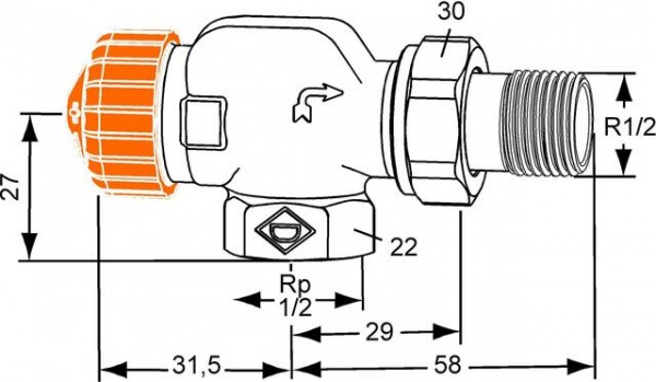 HEIMEIER Thermostat-Ventilunterteil ECLIPSE Axialform, DN 15