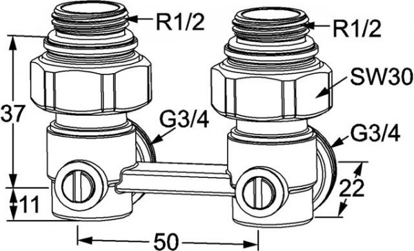 HEIMEIER Verschraubung Vekotrim 2-Rohr Eckform, für VHK mit Rp 1/2 IG
