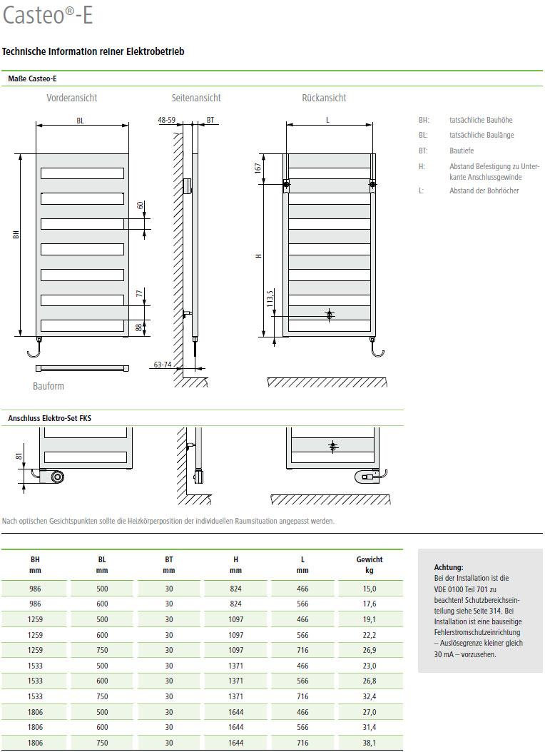 Kermi Casteo-Elektro Design-Badheizkörper Montagemaße