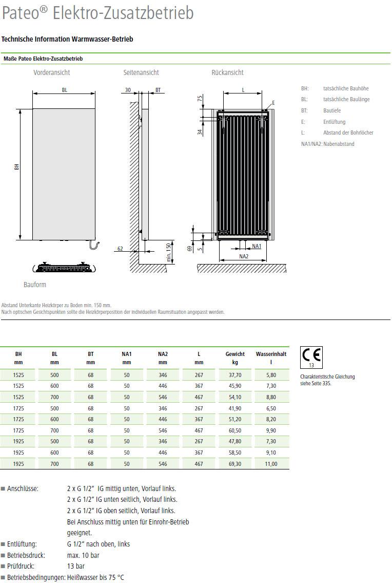 Technische Daten Kermi Pateo Elektro-Zusatzbetrieb Design-Badheizkörper