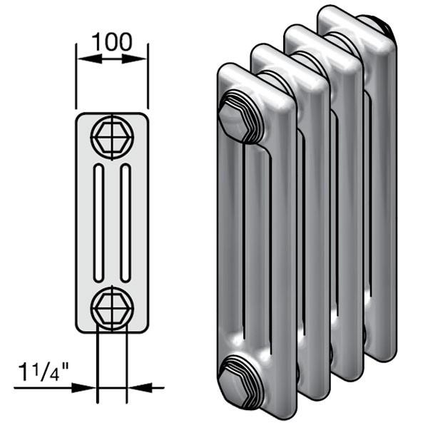 Zehnder Charleston Completto Röhren-Heizkörper mit integriertem Ventil, 3 Säulen