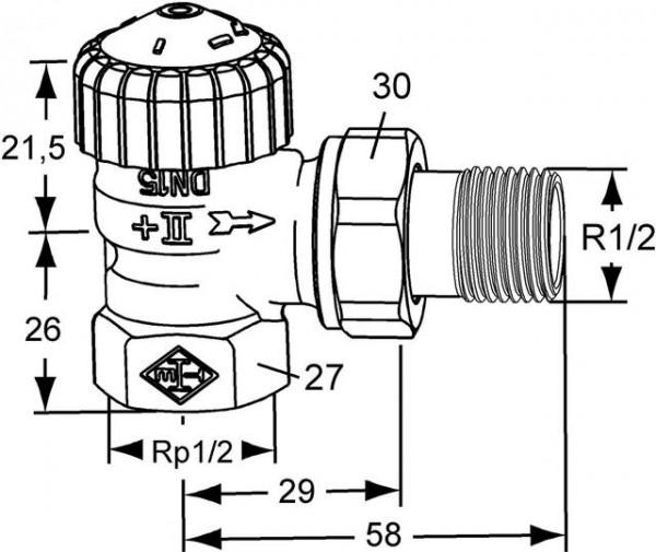 HEIMEIER Thermostat-Ventilunterteil V-exact II, Eckform, DN 15, vernickelt