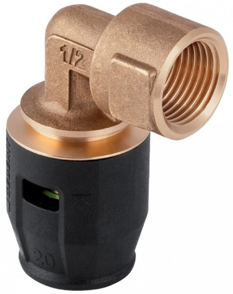 "Geberit Pushfit Übergangswinkel 90° mit Rotguss-Innengewinde, 20mm, 3/4"""