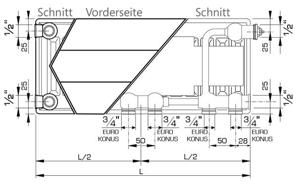 Anschlussmaße Henrad Everest Line 8 Heizkörper