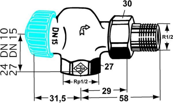 HEIMEIER Thermostat-Ventilunterteil mit geringem Widerstand, Axialform, DN15