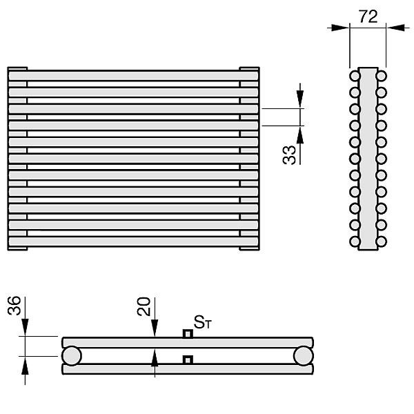 Zehnder Kleo, Elementheizkörper, horizontal, 2-reihig