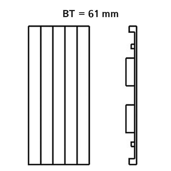 Kermi Heizwand vertikal Typ HVN11, lamelliert mit seitlicher Abdeckung