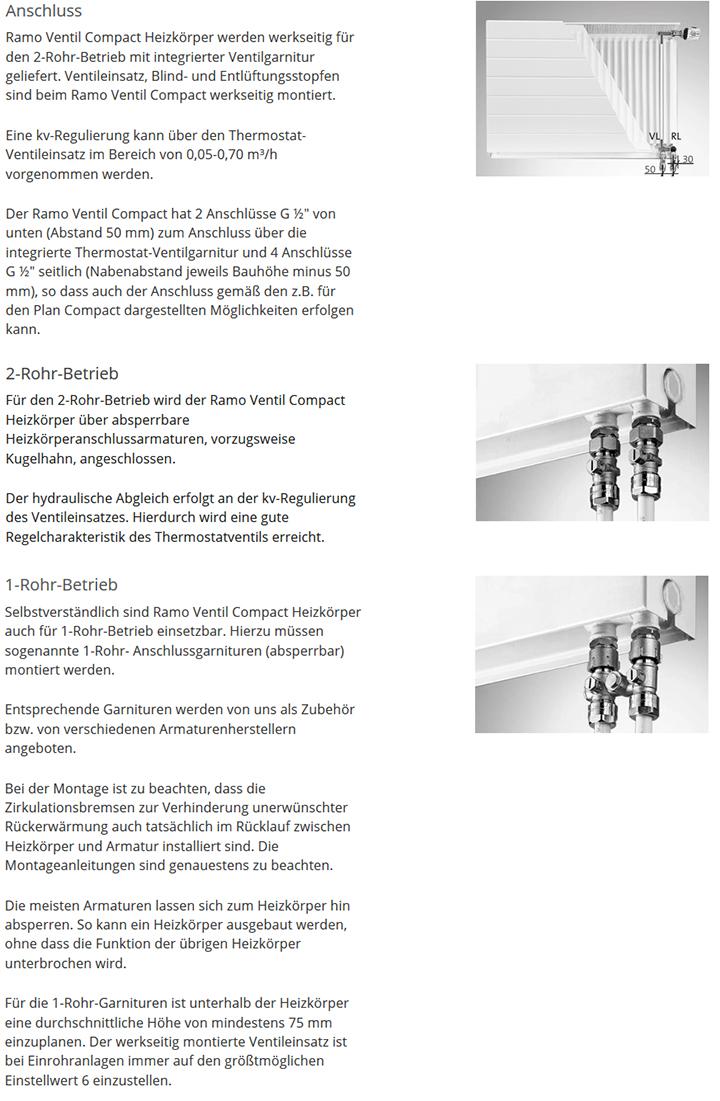 Erläuterung Anschlussvarianten Purmo Heizkörper