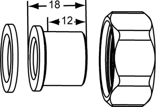 HEIMEIER Verschraubung mit Lötnippel 15 mm, für DN 15, flachdichtend