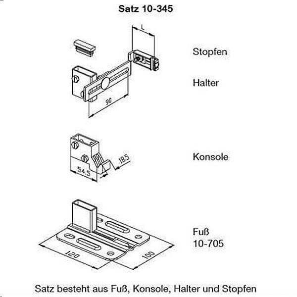 WEMEFA Standkonsolen Standfix 345 seitliche Außenmontage, ohne Standrohr