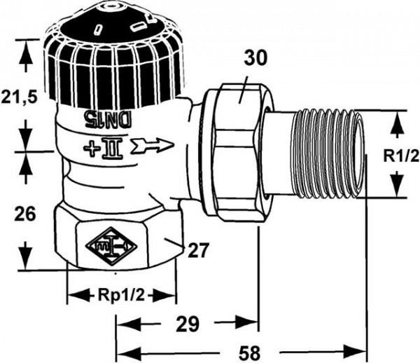 HEIMEIER Thermostat-Ventilunterteil Standard, Eckform, DN 15, vernickelt