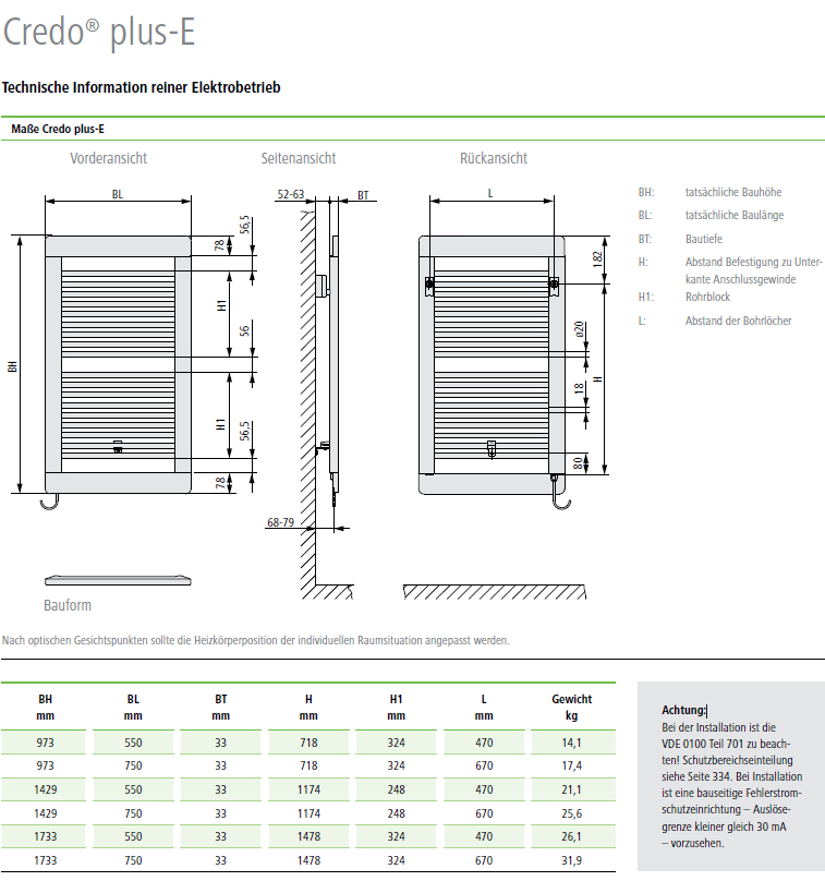 Technische Informationen Kermi Credo plus-Elektro Design-Badheizkörper