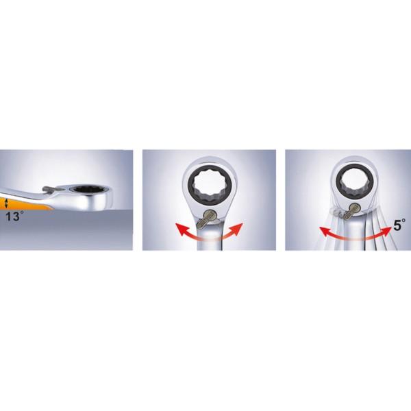 KS Ratschen-Ringmaulschlüssel mit Umschalter und Maulratschenfunktion