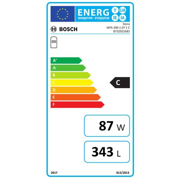 BOSCH bivalenter Warmwasserspeicher STORA WPS 390-1 EP 1 C, 1594x700, 343L, silber