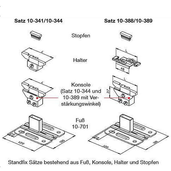 WEMEFA Standkonsolen Standfix 344 für die Innenmontage (80-100 mm)