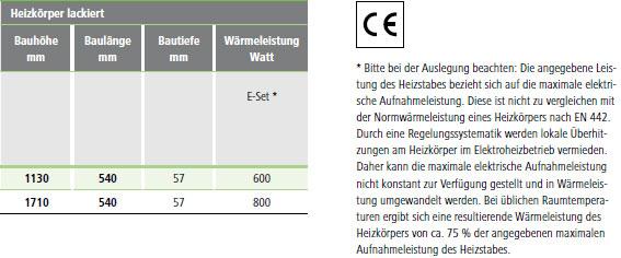 Maße und Wärmeleistungen Kermi Signo-Elektro Design-Badheizkörper