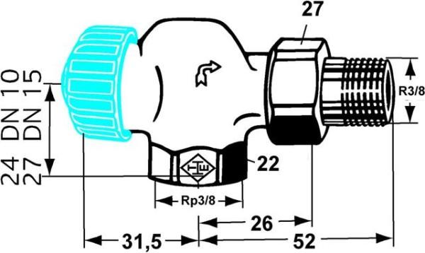 HEIMEIER Thermostat-Ventilunterteil mit geringem Widerstand, Axialform, DN10