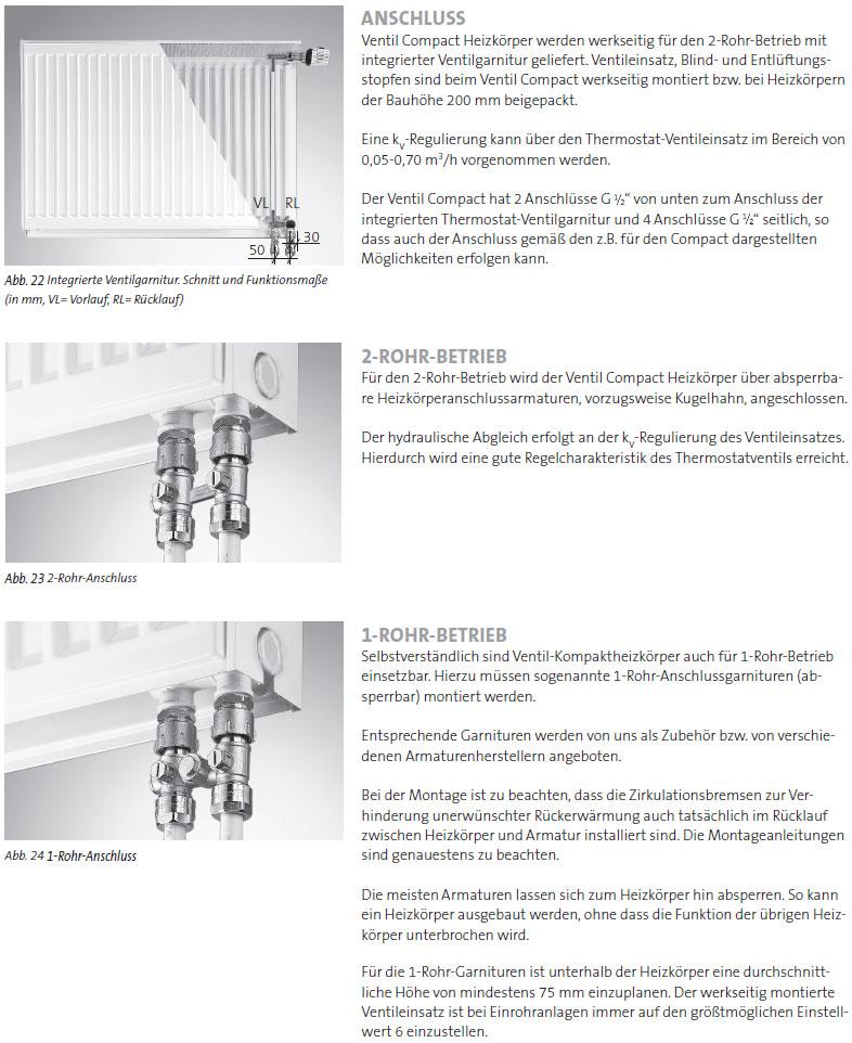 Anschlussvarianten Purmo 6-Muffen Profil-Kompakt-Ventilheizkörper