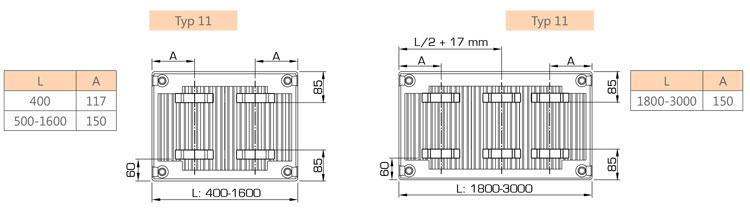 Laschenanordnung Henrad Everest Line 8 Heizkörper
