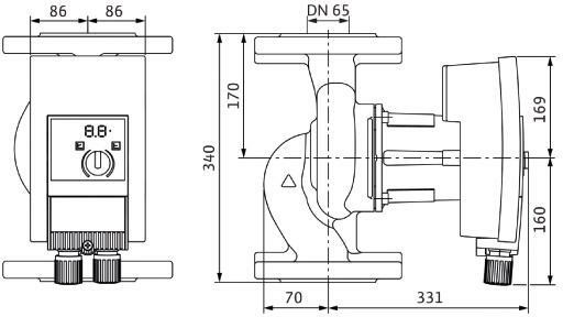WILO Nassläufer-Hocheffizienzpumpe Yonos MAXO plus 65/0,5-12 PN6/10,650W