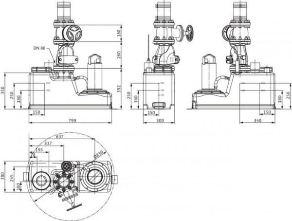 Wilo Abwasser-Hebeanlage DrainLift S 1/6T, DN 80,3x400V, 1.5kW